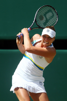 Vera Zvonareva in the 2010 Ladies' Singles final at Wimbledon.