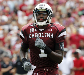 COLUMBIA, SC - SEPTEMBER 11:  Wide receiver Alshon Jeffery #1 of the South Carolina Gamecocks runs to the line of scrimmage before a play during the game against the Georgia Bulldogs at Williams-Brice Stadium on September 11, 2010 in Columbia, South Carol