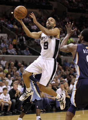 SAN ANTONIO, TX - APRIL 20:  Guard Tony Parker #9 of the San Antonio Spurs takes a shot against Tony Allen #9 of the Memphis Grizzlies in Game Two of the Western Conference Quarterfinals in the 2011 NBA Playoffs on April 20, 2011 at AT&T Center in San Ant