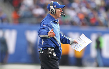 EAST RUTHERFORD, NJ - DECEMBER 19:  Head Coach Tom Coughlin of the New York Giants reacts against the Philadelphia Eagles during their game on December 19, 2010 at The New Meadowlands Stadium in East Rutherford, New Jersey.  (Photo by Al Bello/Getty Image