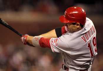 SAN FRANCISCO, CA - JUNE 09:  Joey Votto #19 of the Cincinnati Reds hits a double in the eighth inning against the San Francisco Giants at AT&T Park on June 9, 2011 in San Francisco, California. Votto scored later in the inning on a pass ball.  (Photo by