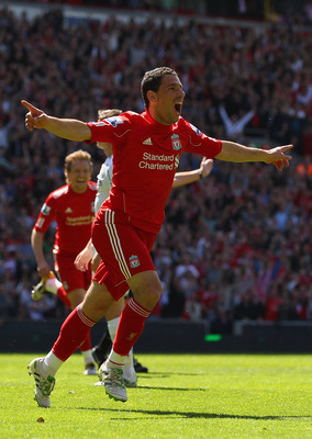 LIVERPOOL, ENGLAND - MAY 01:  Maxi Rodriguez of Liverpool celebrates after scoring the first goal during the Barclays Premier League match between Liverpool  and Newcastle United at Anfield on May 1, 2011 in Liverpool, England.  (Photo by Clive Brunskill/
