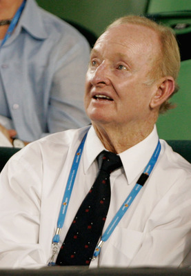 MELBOURNE, AUSTRALIA - JANUARY 28:  Australian tennis legend Rod Laver watches the quarterfinal match between Svetlana Kuznetsova of Russia and Serena Williams of the United States of America during day ten of the 2009 Australian Open at Melbourne Park on