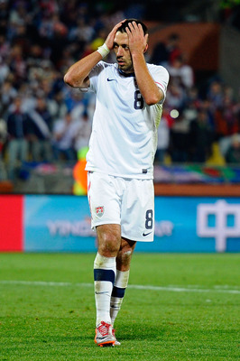 RUSTENBURG, SOUTH AFRICA - JUNE 26:  Clint Dempsey of the United States looks dejected during the 2010 FIFA World Cup South Africa Round of Sixteen match between USA and Ghana at Royal Bafokeng Stadium on June 26, 2010 in Rustenburg, South Africa.  (Photo