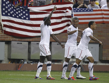 DETROIT, MI - JUNE 7: Jozy Atlidore #17 of the United States celebrates his first half goal with teammates while playing Canada during the 2011 Gold Cup  at Ford Field on June 7, 2011 in Detroit, Michigan. (Photo by Gregory Shamus/Getty Images)