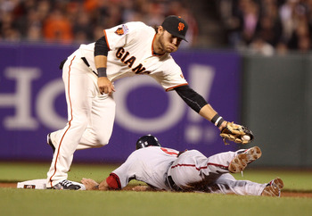SAN FRANCISCO, CA - JUNE 6:  Ian Desmond #6 of the Washington Nationals steals second base past Brandon Crawford #35 of the San Francisco Giants during an MLB game at AT&T Park on June 6, 2011 in San Francisco, California. (Photo by Jed Jacobsohn/Getty Im