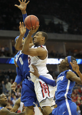 TULSA, OK - MARCH 18:  Derrick Williams #23 of the Arizona Wildcats goes up for a shot against the Memphis Tigers during the second round game of the 2011 NCAA men's basketball tournament at BOK Center on March 18, 2011 in Tulsa, Oklahoma.  (Photo by Rona