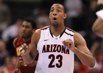 LOS ANGELES, CA - MARCH 11:  Derrick Williams #23 of the Arizona Wildcats reacts in the second half while taking on the USC Trojans in the semifinals of the 2011 Pacific Life Pac-10 Men's Basketball Tournament at Staples Center on March 11, 2011 in Los An