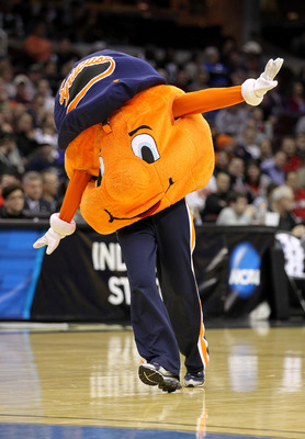 CLEVELAND, OH - MARCH 18: The Syracuse Orange mascot walks on the court during the game against the Indiana State Sycamores during the second round of the 2011 NCAA men's basketball tournament at Quicken Loans Arena on March 18, 2011 in Cleveland, Ohio.