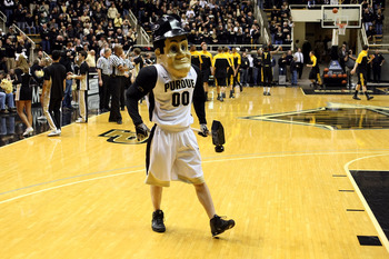 WEST LAFAYETTE, IN - JANUARY 09:  Purdue Pete the mascot for the Purdue Boilermakers performs against the Iowa Hawkeyes at Mackey Arena on January 9, 2011 in West Lafayette, Indiana. Purdue own 75-52. (Photo by Chris Chambers/Getty Images)