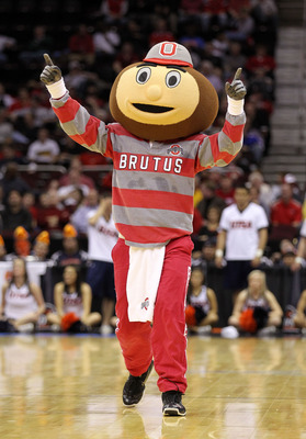 CLEVELAND, OH - MARCH 18: Brutus, the Ohio State Buckeyes mascot walks on the court during the game against the Texas-San Antonio Roadrunners during the second round of the 2011 NCAA men's basketball tournament at Quicken Loans Arena on March 18, 2011 in