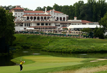 BETHESDA, MD - JUNE 17:  Marcel Siem of Germany hits his third shot on the 18th hole during the second round of the 111th U.S. Open at Congressional Country Club on June 17, 2011 in Bethesda, Maryland.  (Photo by Andrew Redington/Getty Images)