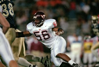 30 Oct 1999: Corey Moore #56 of the Virginia Tech Hokies moves on the field during the game against the Pittsburgh Panthers at the Pittsburgh Stadium in Pittsburgh, Pennsylvania. The Panthers defeated the Hokies 30-17. Mandatory Credit: Doug Pensinger  /A