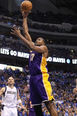 DALLAS, TX - MAY 06:  Center Andrew Bynum #17 of the Los Angeles Lakers takes a shot against the Dallas Mavericks in Game Three of the Western Conference Semifinals during the 2011 NBA Playoffs on May 6, 2011 at American Airlines Center in Dallas, Texas.
