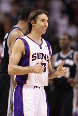 PHOENIX, AZ - APRIL 13:  Steve Nash #13 of the Phoenix Suns gives thumbs up during the NBA game against the San Antonio Spurs at US Airways Center on April 13, 2011 in Phoenix, Arizona.  NOTE TO USER: User expressly acknowledges and agrees that, by downlo