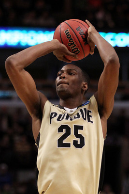 CHICAGO, IL - MARCH 20: JaJuan Johnson #25 of the Purdue Boilermakers shoots against the Virginia Commonwealth Rams in the first half during the third round of the 2011 NCAA men's basketball tournament at the United Center on March 20, 2011 in Chicago, Il