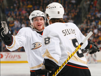 BUFFALO, NY - FEBRUARY 24: Bobby Ryan #54 and Teemu Selanne #8 of the Anaheim Ducks celebrate Selane's goal in the first period against the Buffalo Sabres   on February 24, 2009 at HSBC Arena in Buffalo, New York.  (Photo by Rick Stewart/Getty Images)