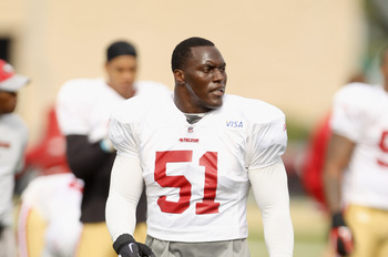 SANTA CLARA, CA - AUGUST 02:  Takeo Spikes #51 works out during the San Francisco 49ers training camp at their training complex on August 2, 2010 in Santa Clara, California.  (Photo by Ezra Shaw/Getty Images)