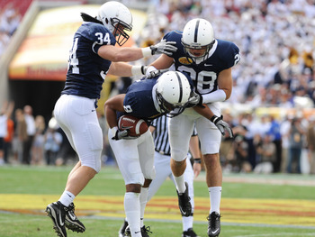TAMPA, FL - JANUARY 1:  Cornerback D'Anton Lynn #8 of the Penn State Nittany Lions intercepts a first-quarter pass against the Florida Gators January 1, 2011 in the 25th Outback Bowl at Raymond James Stadium in Tampa, Florida.  (Photo by Al Messerschmidt/