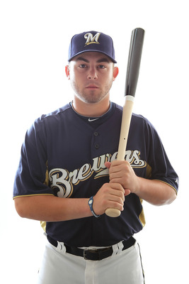 MARYVALE, AZ - FEBRUARY 24:  Caleb Gindl #77 of the Milwaukee Brewers poses for a portrait during Spring Training Media Day on February 24, 2011 at Maryvale Stadium in Maryvale, Arizona.  (Photo by Jonathan Ferrey/Getty Images)