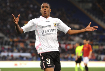 ROME, ITALY - APRIL 16:  Abel Hernandez of Palermo celebrates after scoring his second goal (1-3) during the Serie A match between AS Roma and US Citta di Palermo at Stadio Olimpico on April 16, 2011 in Rome, Italy.  (Photo by Tullio M. Puglia/Getty Image