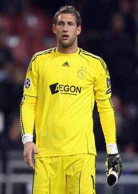 AMSTERDAM, NETHERLANDS - OCTOBER 19: AFC Ajax goalkeeper Maarten Stekelenburg looks on during the UEFA Champions League Group G match between AFC Ajax and AJ Auxerre at the Amsterdam ArenA on October 19, 2010 in Amsterdam, Netherlands.  (Photo by Bryn Len