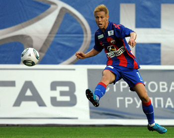 KHIMKI, RUSSIA - JUNE 14: (EMBARGOED FOR PUBLICATION IN ALL JAPANESE MEDIA UNTIL 48 HOURS AFTER CREATE DATE AND TIME) Keisuke Honda of PFC CSKA Moscow in action during the Russian Football League Championship match between PFC CSKA Moscow and FC Anzhi Mak