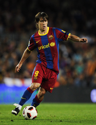 BARCELONA, SPAIN - MAY 15:  Bojan Krkic of FC Barcelona runs with the ball during the La Liga match between Barcelona and Deportivo La Coruna at Camp Nou Stadium on May 15, 2011 in Barcelona, Spain.  (Photo by David Ramos/Getty Images)