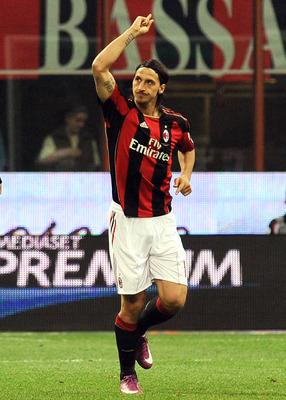 MILAN, ITALY - APRIL 20:  Zlatan Ibrahimovic of Milan celebrates after scoring the opening goal during the TIM Cup semifinal match between AC Milan and US Citta di Palermo at Stadio Giuseppe Meazza on April 20, 2011 in Milan, Italy.  (Photo by Tullio M. P