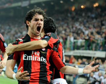 MILAN, ITALY - APRIL 02:  Alexandre Pato of AC Milan celebrates scoring the first goal during the Serie A match between AC Milan and FC Internazionale Milano at Stadio Giuseppe Meazza on April 2, 2011 in Milan, Italy.  (Photo by Claudio Villa/Getty Images