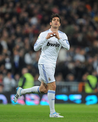 MADRID, SPAIN - FEBRUARY 06: Kaka of Real Madrid  celebrates after scoring Real's first goal  of during the La Liga match between Real Madrid and Real Sociedad at Estadio Santiago Bernabeu on February 6, 2011 in Madrid, Spain.  (Photo by Denis Doyle/Getty