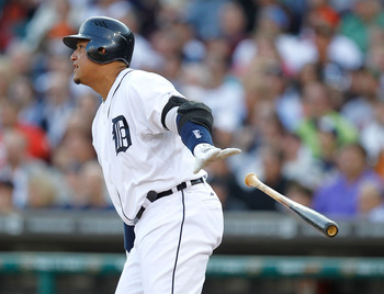 DETROIT, MI - JUNE 14: Miguel Cabrera #24 of the Detroit Tigers watches third inning RBI while playing the Cleveland Indians at Comerica Park on June 14, 2011 in Detroit, Michigan. (Photo by Gregory Shamus/Getty Images)