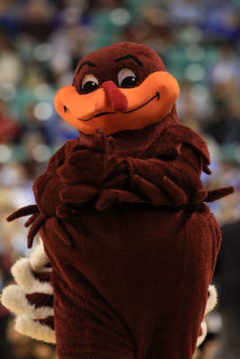 GREENSBORO, NC - MARCH 11:  The HokieBird, the mascot for the Virginia Tech Hokies, performs during the first half against the Florida State Seminoles in the quarterfinals of the 2011 ACC men's basketball tournament at the Greensboro Coliseum on March 11,