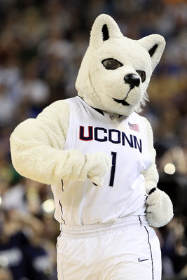 HOUSTON, TX - APRIL 02:  The Connecticut Huskies mascot on the court during a break in the game against the Kentucky Wildcats in the National Semifinal game of the 2011 NCAA Division I Men's Basketball Championship at Reliant Stadium on April 2, 2011 in H