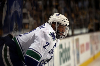 BOSTON, MA - JUNE 13:  Manny Malhotra #27 of the Vancouver Canucks looks on prior to Game Six against the Boston Bruins in the 2011 NHL Stanley Cup Final at TD Garden on June 13, 2011 in Boston, Massachusetts.  (Photo by Elsa/Getty Images)