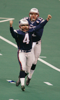 3 Feb 2002:  Kicker Adam Vinatieri #4 of the New England Patriots celebrates after a 48 yard game-winning field goal to win Super Bowl XXXVI, 20-17, beating the St. Louis Rams at the Superdome in New Orleans, Louisiana. DIGITAL IMAGE. Mandatory Credit: Al