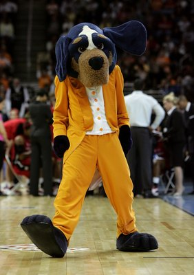 CLEVELAND - APRIL 03:  Smokey, the mascot of the Tennessee Lady Volunteers performs against the Rutgers Scarlet Knights during the 2007 NCAA Women's Basketball Championship Game at Quicken Loans Arena on April 3, 2007 in Cleveland, Ohio. Tennessee won 59-