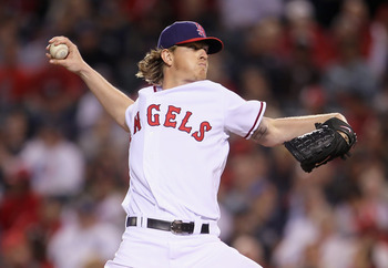 ANAHEIM, CA - JUNE 03:  Jered Weaver #36 of the Los Angeles Angels of Anaheim pitches against the New York Yankees in the seventh inning at Angel Stadium of Anaheim on June 3, 2011 in Anaheim, California. The Angels defeated the Yankees 3-2.  (Photo by Je