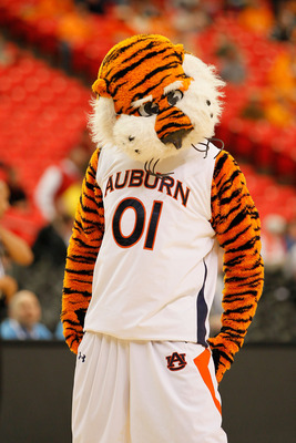 ATLANTA, GA - MARCH 10:  Auburn University mascot Aubie the Tiger looks on during their game against the Georgia Bulldogs in the first round of the SEC Men's Basketball Tournament at the Georgia Dome on March 10, 2011 in Atlanta, Georgia.  (Photo by Kevin