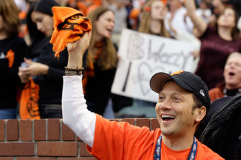 SAN FRANCISCO - OCTOBER 28:  Actor Rob Schneider cheers on the San Francisco Giants as they take on the Texas Rangers in Game Two of the 2010 MLB World Series at AT&T Park on October 28, 2010 in San Francisco, California.  (Photo by Pool/Getty Images)