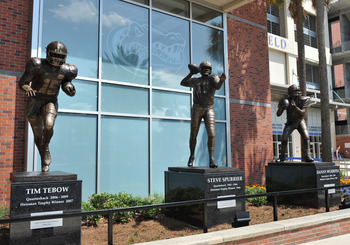 Statues of Tim Tebow and Steve Spurrier