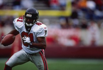 21 Dec 1997:  Wide receiver Terrance Mathis of the Atlanta Falcons moves the ball during a game against the Arizona Cardinals at Sun Devil Stadium in Tempe, Arizona.  The Cardinals won the game, 29-26. Mandatory Credit: Jed Jacobsohn  /Allsport