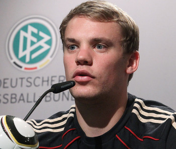 PRETORIA, SOUTH AFRICA - JULY 05:  Manuel Neuer of Germany speaks to the media in the media center at the Velmore Grand Hote on July 5, 2010 in Pretoria, South Africa.  (Photo by Joern Pollex/Getty Images)