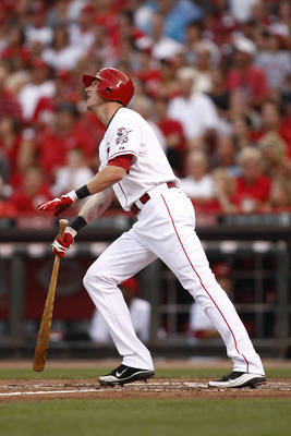 CINCINNATI, OH - JUNE 17:  Drew Stubbs #6 of the Cincinnati Reds hits an inside the park home run during the game against the Toronto Blue Jays on June 17, 2011 at Great American Ball Park in Cincinnati, Ohio.  The Toronto Blue Jays defeated the Cincinnat