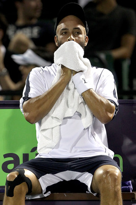 KEY BISCAYNE, FL - MARCH 27:  James Blake looks on durig the change over against Novak Djokovic of Serbia during the Sony Ericsson Open at Crandon Park Tennis Center on March 27, 2011 in Key Biscayne, Florida.  (Photo by Matthew Stockman/Getty Images)