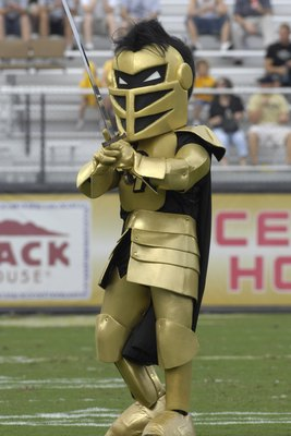 ORLANDO, FL - OCTOBER 20: The mascot of the Tulsa Golden Hurricane entertains during pre-game ceremonies against the University of Central Florida Knights at Bright House Stadium on October 20, 2007 in Orlando, Florida.  UCF won 44 - 23. (Photo by Al Mess
