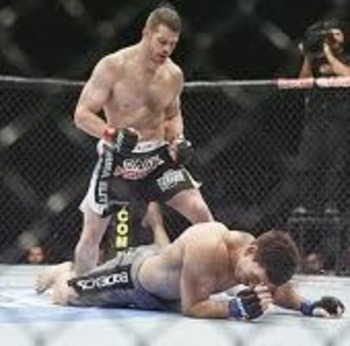 Nate Marquardt standing over his downed opponent