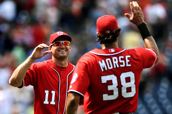 Ryan Zimmerman and Michael Morse Celebrate the Nationals 8th win in a row