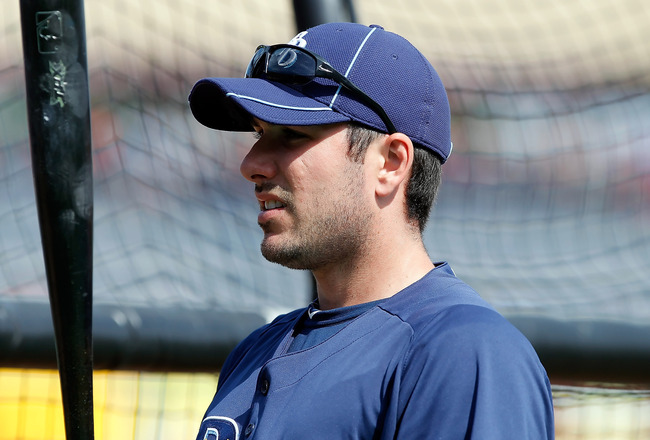 CLEARWATER, FL - MARCH 06:  Outfielder Matt Joyce #20 of the Tampa Bay Rays takes batting practice before the start of the Grapefruit League Spring Training Game against the Philadelphia Phillies at Bright House Field on March 6, 2011 in Sarasota, Florida