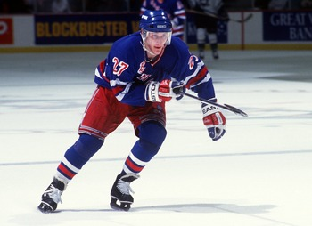 28 JAN 1994:  NEW YORK RANGERS RIGHT WING ALEXEI KOVALEV IN ACTION DURING A GAME AGAINST MIGHTY DUCKS AT THE POND IN ANAHEIM.  Mandatory Credit: Glenn Cratty/ALLSPORT